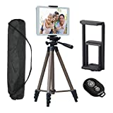 Tripod for iPad iPhone Camera Tablet,50-inch Aluminum Alloy Tripod + Wireless Remote + 2 in 1 Mount Holder for Smartphone (Width 2-3.2'),Tablet (Width 4.3-7.2')