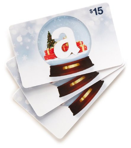 Amazon.com $15 Gift Cards, Pack of 3 (Holiday Globe Card Design)