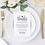 Wedding Thank You Place Setting Cards, 4x6 Print to add to your Table Centerpieces and Wedding Decorations -Pack of 50
