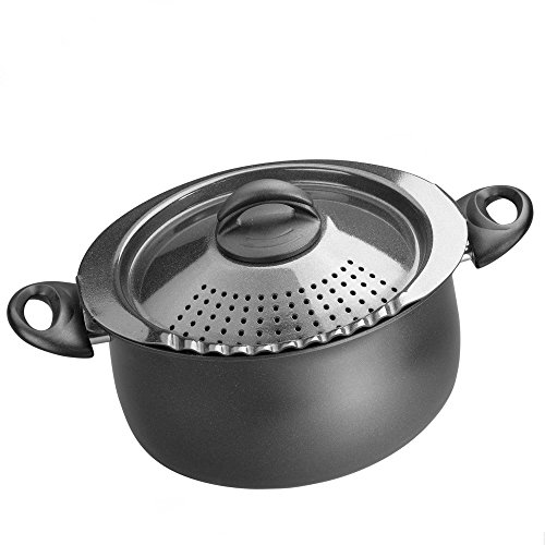 Bialetti 07265 Oval 5 Quart Pasta Pot with Strainer Lid, Charcoal