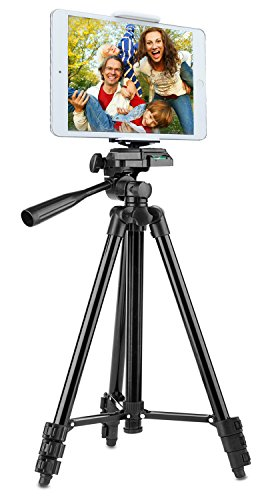 Tripod for iPad and iPhone [UPGRADED], Peyou 50″ Inch Portable Lightweight Aluminum Phone Camera Tripod+2 in 1 Universal Holder Mount Fits Smartphone(Width 2″-3.3″) and Tablet (Width 4.3″-7″)