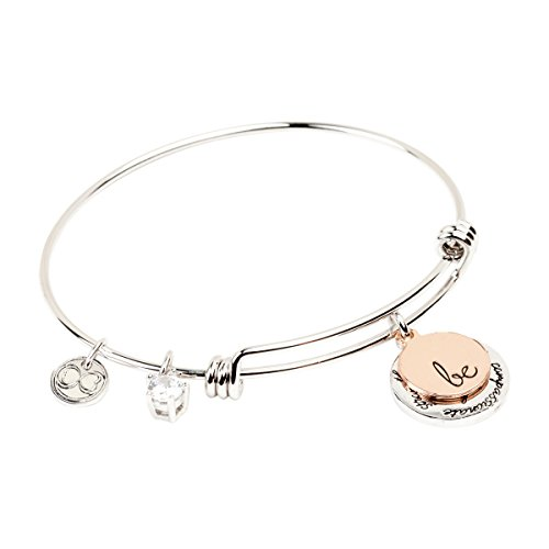 Expandable Inspirational Jewelry Women Charm Stackable Bracelet, 'Be Thankful, Brave, Happy, Kind, True, Compassionate, Strong', Gift Girls Her