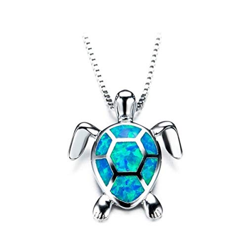 Beiswe-Cute-Turtle-Pendant-Necklace-Lovely-Animals-White-Fire-Opal-925-Sterling-Silver-Necklace-Jewellery-Gifts-Blue