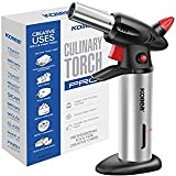 Butane Torch, Kollea Blow Kitchen Torch Refillable Chef Cooking Culinary Torch Lighter with Safety Lock Fuel Gauge, Adjustable Flame [MAX 2500℉] for Creme, Brulee, Toasting, Barbeques, Soldering