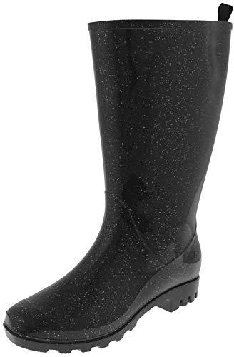 Capelli New York Glitter Ladies Wide Calf Rain Boot Black Combo 10