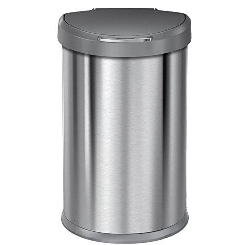 simplehuman 45 Liter / 12 Gallon Stainless Steel Semi-Round Sensor Can, Touchless Automatic Trash Can, with Plastic Lid, Brushed Stainless Steel