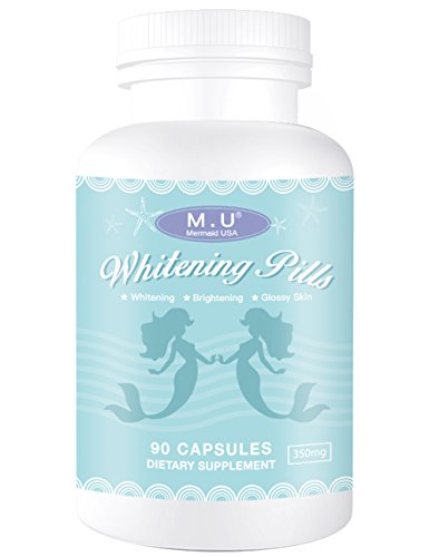 M.U Mermaid USA Whitening Pills for Skin 3 Times Effect of glutathione, Focus on Glowing brightening Smoothy Skin Support Dark spot Remover Acne Scar Remover