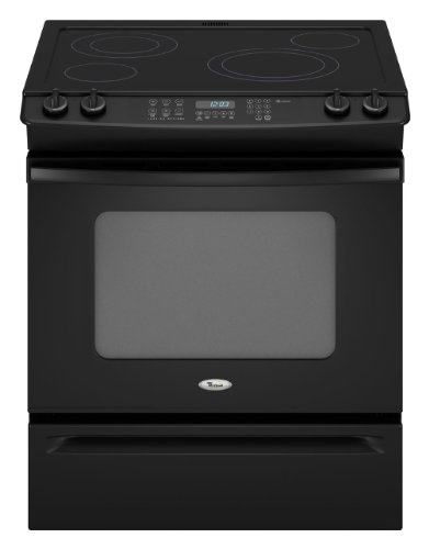 Whirlpool GY399LXUB Gold 30' Black Electric Slide-In Smoothtop Range - Convection