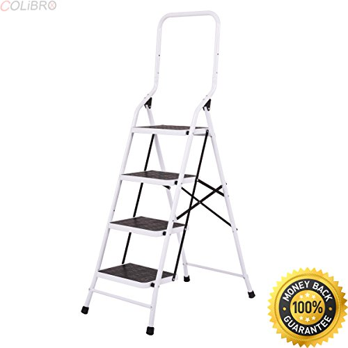 COLIBROX--2 In 1 Non-slip 4 Step Ladder Folding Stool w/ Handrails 330Lbs Load Capacity. step stool lowes. step stool home depot. heavy duty step stool. aluminum step platform. folding stepping stool.