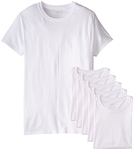 Fruit of the Loom Men's Stay Tucked Crew T-Shirt (White, Large Tall)