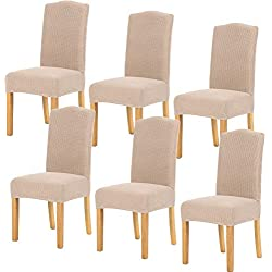 TIANSHU Stretch Chair Cover for Home Decor Dining Chair Slipcover (6 Pack, Sand)