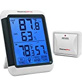 ThermoPro TP65 Digital Wireless Hygrometer Indoor Outdoor Thermometer Wireless Temperature and Humidity Monitor with Jumbo Touchscreen and Backlight Humidity Gauge, 200ft/60m Range