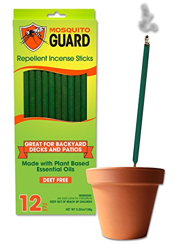 Mosquito Guard Incense Repellent Sticks - 12 Inch Incense Sticks Made with Natural Plant Based Ingredients: Citronella, Lemongrass & Rosemary Oil - 12 Sticks Per Box