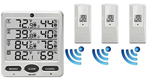 Ambient-Weather-WS-10-X4-Wireless-IndoorOutdoor-8-Channel-Thermo-Hygrometer-with-Four-Remote-Sensors