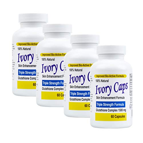 4 Pack Ivory Caps **BEST VALUE**- Maximum Potency Glutathione 1500 'Skin Whitening' Complex