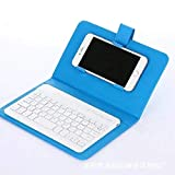 Aoile Portable PU Leather Wireless Keyboard Case for iPhone with Bluetooth Keyboard for 4.2-6.8 Inch Phones Sky Blue Bluetooth Keyboard + Leather case