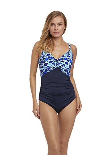 71ZWubAVgvL Look chic in this light control, smoothing one-piece swimsuit Quality stretch microfiber Double-layer fabric smoothes tummy and waist