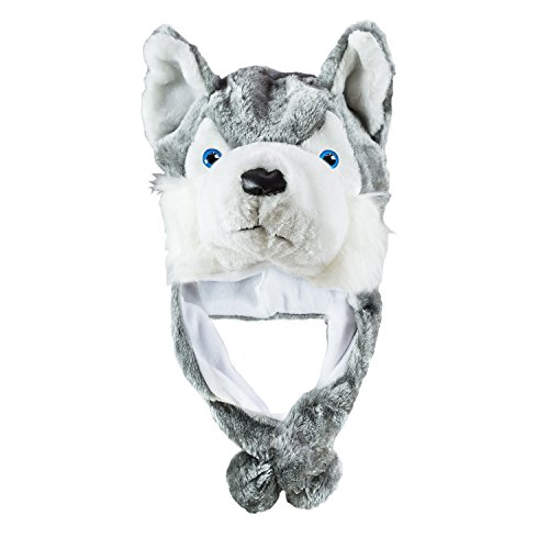 Super-Z-Outlet-Husky-Timber-Wolf-Cute-Plush-Animal-Winter-Hat-Warm-Winter-Fashion-Short