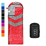 Sleeping Bag – Sleeping Bag for Indoor & Outdoor Use - Great for Kids, Boys, Girls, Teens & Adults. Ultralight and Compact Bags for Sleepover, Backpacking & Camping (Red / Gray - Right Zipper)