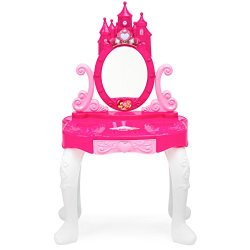 Best Choice Products Kids 14-Piece Vanity Playset w/ Accessories, Makeup, Hairdryer, Jewelry, Pink