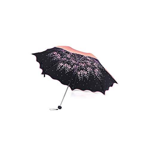 Flower Umbrella Rain Women Windproof Triple Folding Rain Sun Umbrella Waterproof UPF 50+UV Protection Portable Travel Umbrellas,Red