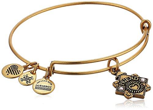 Alex and Ani Womens Because I Love You, Friend Charm Bangle Bracelet, Rafaelian Silver, Expandable