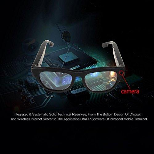 Video Glasses, Hometom Smart Live Streaming Glasses FHD 1080P Cap Hidden WIFI Camera Video Glasses Cam (Black)