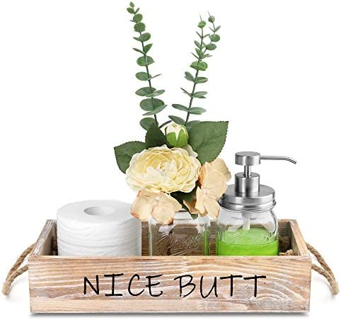HOMKO Toilet Paper Bathroom Decor Box with Two Mason Jars and Artificial Flower Wooden Bathroom Box for Toilet Paper Storage, Bathroom Accessory and Organizer (Rustic Brown, Medium)