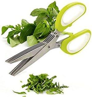 VALAMJI 5 Blade Stainless Steel Herbs/Vegetable Scissor (21x8.5cm)