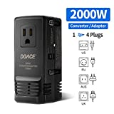 DOACE 2000W Travel Voltage Converter Step Down 220V to 110V for Hair Dryer, 8A Universial Power Adapter with UK/AU/US/EU Worldwide Plug for Cell Phone, iPad, Laptop, Mackbook, Camera(190 Countries)