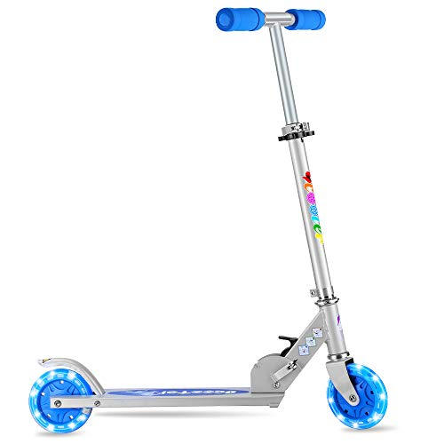 BELEEV V2 Folding Kick Scooter 2 Wheel Scooter, 3 Adjustable Height, White LED Light Up Wheels for 5 Years and up (Blue)