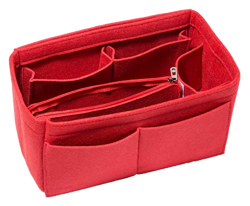 HEALTHLOVE Felt Insert Bag Organizer Purse Organizer Include Zipper Purse for Handbag Choice 3 Size (Medium, Red)