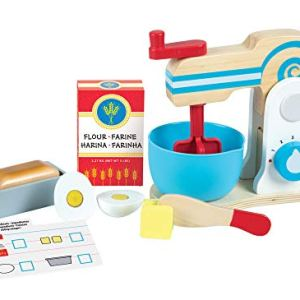 Melissa & Doug Wooden Make-a-Cake Mixer Set (Kitchen Toy, Numbered Turning Dials, Encourages Creative Thinking, 11-Piece Set, 34.29 cm H × 25.4 cm W × 12.7 cm L) 413 g9f7B3L