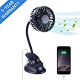 Mikikin Portable Mini Clip on Stroller Fan, 3 Speeds Settings, Flexible Bendable USB Rechargeable Battery Operated Quiet Desk Fan Ideal for Home, Office, Car, Travel, Camping, Outdoor