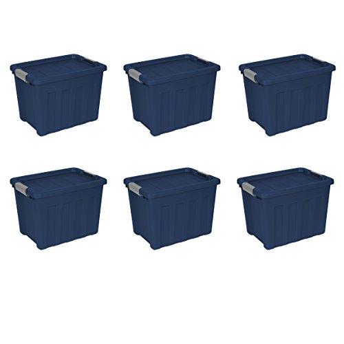 Sterilite 16867406 18 Gallon/68 Liter Ultra Tote, True Blue Lid & Base w/ Titanium Latches, 6-Pack