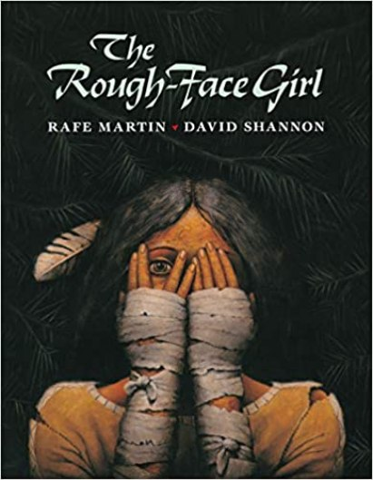 A cover image for the book The Rough-Face Girl.  The background is black with a Native American girl covering her face with her hands.  Both hands are wrapped in bandages from her elbows to her fingers.