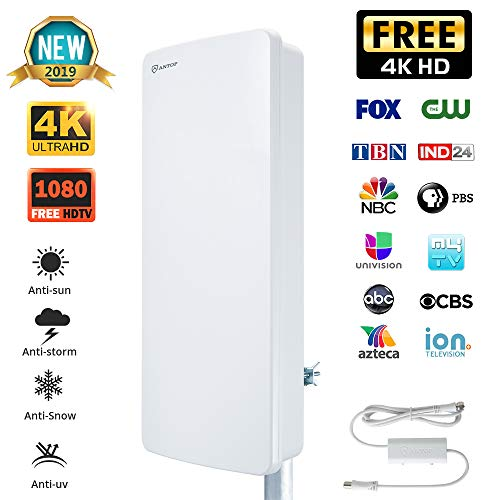 ANTOP Big BOY HDTV Flat Panel Amplified Antenna for Outdoor/Indoor,80 Mile Multi-Directional with Amplifier Signal Booster, 1080P 4K-Extremely High Reception with 40ft Coaxial Cable