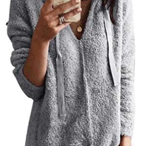 ouxiuli Women Casual Knit Pullover Loose Fluffy Fuzzy Jumper Sweaters
