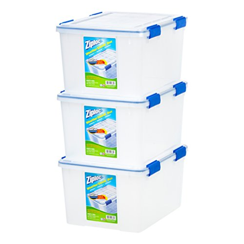 IRIS USA, Inc. WSB-SD WeatherShield Storage Box, 44 Quart, Clear, 3 Pack