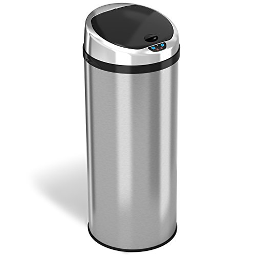 iTouchless 13 Gallon Touchless Sensor Kitchen Trash Can with Odor Control System, Stainless Steel, Round Garbage Bin for Home or Office