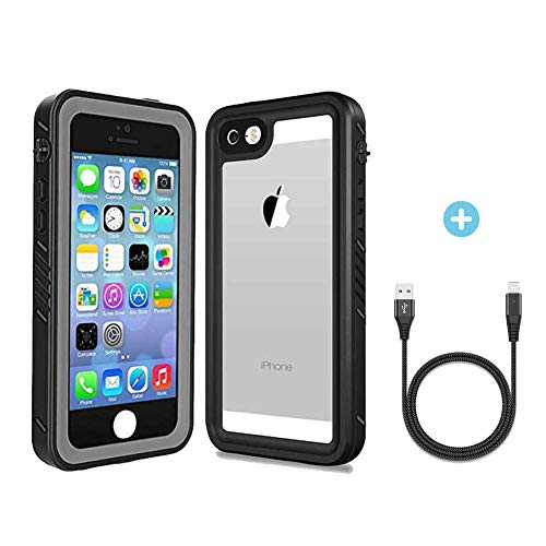 Verhux Waterproof Case Compatible with Apple iPhone 5/5S/SE - Underwater Full Body Clear Protective Cover with Military Tested Shockproof Design