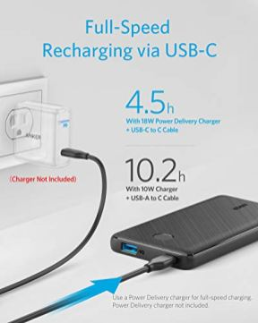 Anker-PowerCore-Slim-10000-PD-USB-C-Power-Bank-18W-10000mAh-Power-Delivery-Portable-Charger-for-iPhone-12MiniXXRXS-Max-S10-Pixel-33XL-iPad-Pro-2018-and-More-Charger-Not-Included