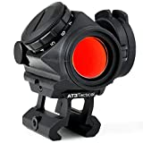 """AT3 Tactical RD-50 PRO Red Dot Sight with 1"""" Riser - for Lower 1/3 Cowitness with Iron Sights - 2 MOA Compact Red Dot Scope"""
