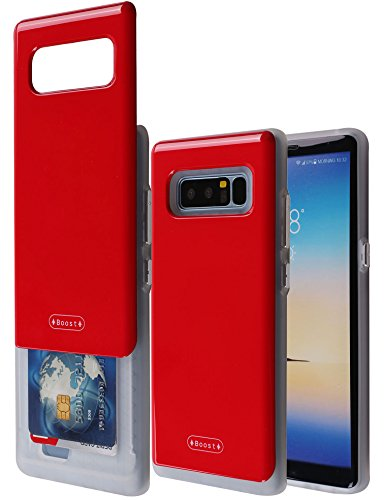 Galaxy Note 8 Case with Card Holder, Boost [Slide Back Wallet Case] Protective Slim Fit Dual Layer Hidden 2 Credit Card Holder ID Slot Card Case for Galaxy Note 8 (Red)