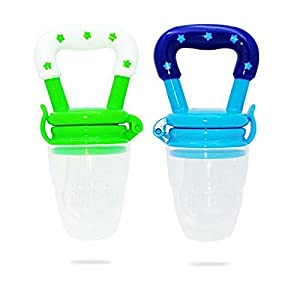 ULTIMATE (Med) Best Baby Fresh Food Fruit Feeder / 5 Pack / Toddlers Silicone Teething Nibbler (6 to 12 Months) New Arrival 2018