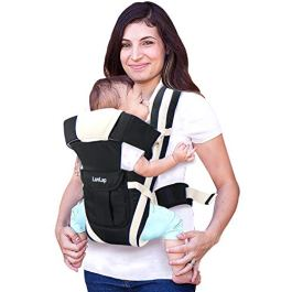 Luvlap Elegant Baby Carrier with 4 carry positions, for 4 to 24 months baby, Max weight Up to 15 Kgs (Black)