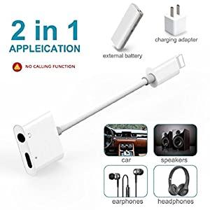 Lightning Jack Headphone Adaptor Charger for 8/8 Plus iPhone 7/7 Plus/ iPhone X 10/iPad /iPod . Earphone Adapter Headphone Aux Audio & Charge Adaptor,Connector Lightning Cable Suppor iOS 11 System