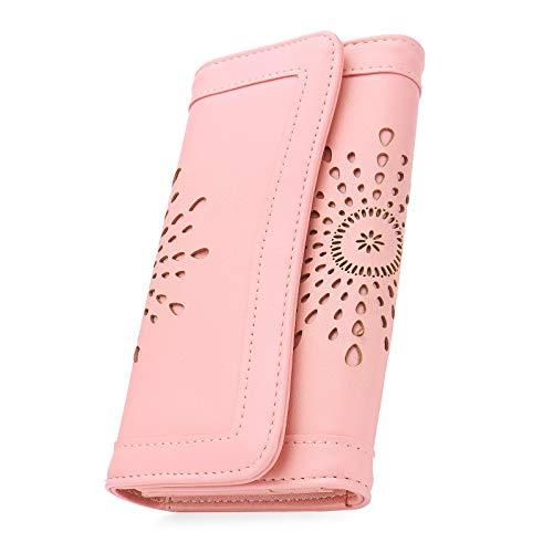 OB-OURBAG-Portefeuilles-Femme-Cuir-Grande-Capacite-Porte-Monnaie-Design-de-Mode-Creux-Grand-Portefeuille-Long-avec-Fente-pour-Carte-et-Porte-cheque-Rose