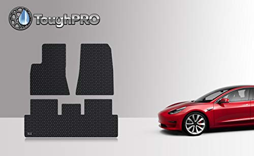 ToughPRO Tesla Model 3 Floor Mats Set - All Weather - Heavy Duty - Black Rubber - 2019