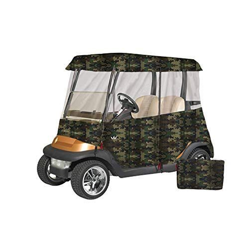 Greenline Drivable Golf Cart Enclosures by Eevelle, Heavy Duty 300D 2 Passenger Universal Fit, Camo